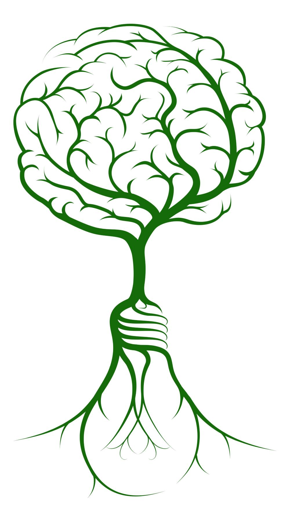 A green brain in the shape of a tree growing out of a lightbulb with roots